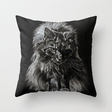 Who's for Dinner? Big Black & White Main Coon Cat Throw Pillow