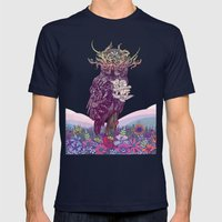 Journeying Spirit (Owl) Mens Fitted Tee Navy SMALL