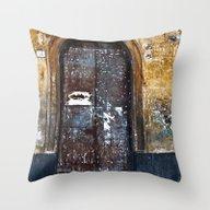 Old Sicilian Door Of Cat… Throw Pillow
