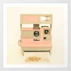 Pink Pola Love vintage camera Art Print