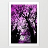 Purple Evening Moon Thro… Art Print