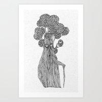the old treebeard & the blind owl Art Print