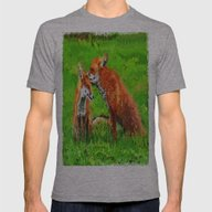 Red Fox Love  Mens Fitted Tee Athletic Grey SMALL