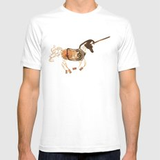 Steampunk Unicorn SMALL White Mens Fitted Tee