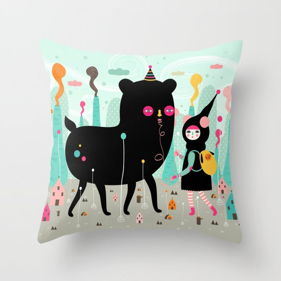 A lovely day at the tiny world Throw Pillow