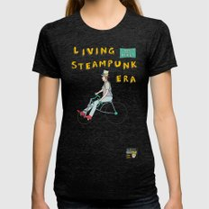 Stovepipe Hat Biker Womens Fitted Tee Tri-Black SMALL