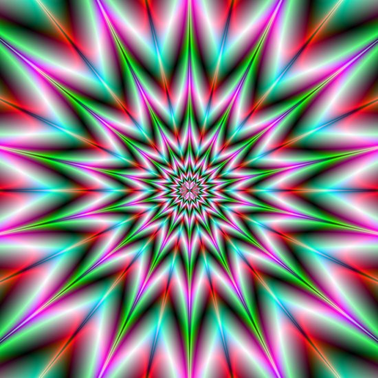Green and Pink Star Art Print