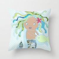 Water Fairy Mermaid Throw Pillow