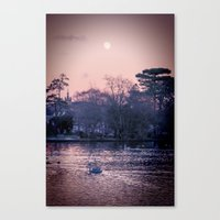 Moon Over The Lake.  Canvas Print