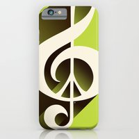 iPhone & iPod Case featuring Lime Green Retro Music & Peace  by Inspireuart