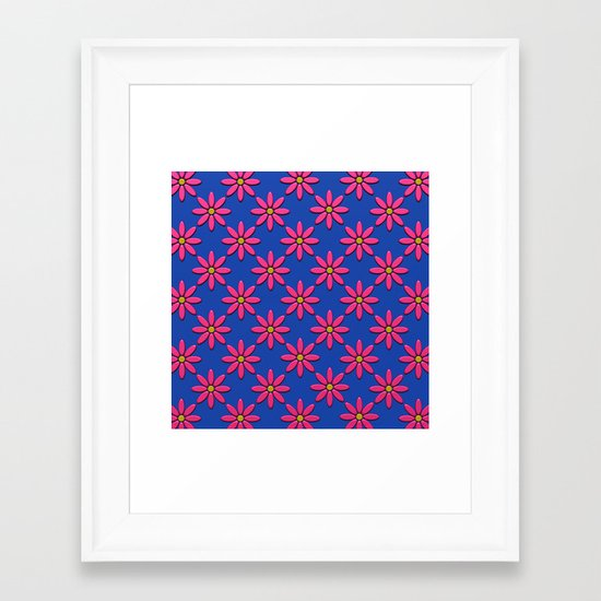 Pink Flowers on Blue Field Framed Art Print