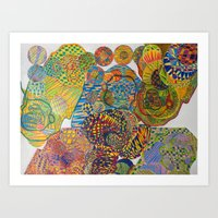 7 Monkeys Orbiting Cosmi… Art Print