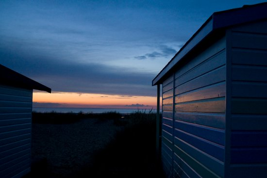 Beach Huts at Sunset Art Print