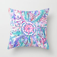 Boho Flower Burst in Pink and Teal Throw Pillow