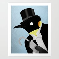 penguin Art Prints featuring Penguin by Chase Kunz