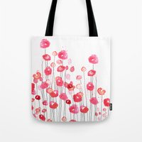 Poppies in Pink Tote Bag