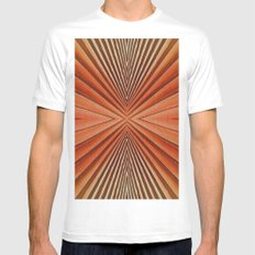 Geometric  pattern design SMALL Mens Fitted Tee White
