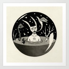 Water Orb with Rabbit Art Print
