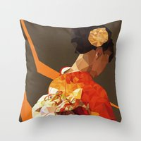 Polygonal Kimono Girl Throw Pillow