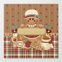 Gingerbread Country Christmas Canvas Print