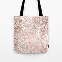 Chic hand drawn rose gold floral mandala pattern Tote Bag