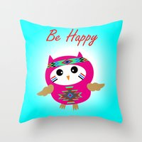 Be Happy Owl Throw Pillow
