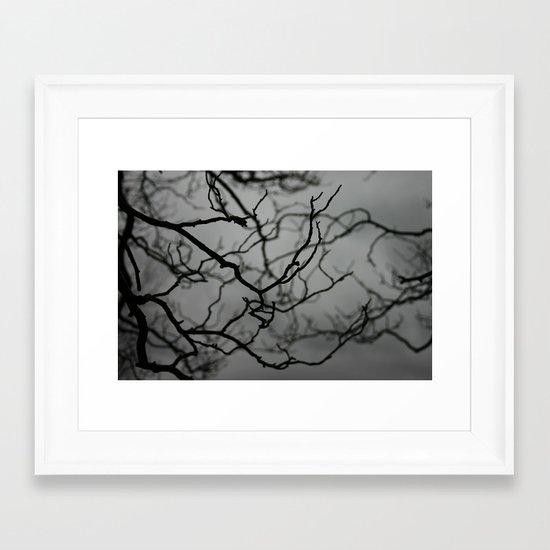 Spooky Halloween, Winter, Black and White Framed Art Print