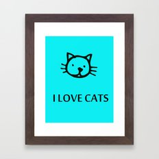 I LOVE CATS BLUE Framed Art Print