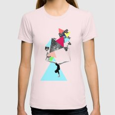 SHE WAS STRANGE Womens Fitted Tee Light Pink SMALL