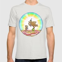 Admiring Daddy Bear Mens Fitted Tee Silver SMALL