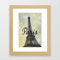 Paris Typography Eiffel Tower  Framed Art Print