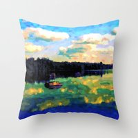 The Giant's Steps On The Lake - Painting Style Throw Pillow