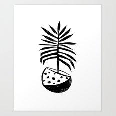 Palm linocut housplant potted plant trendy black and white lino art illustration tropical leaves Art Print