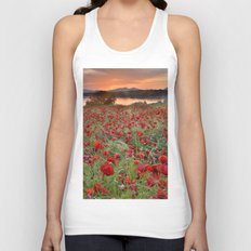 Poppies at the lake at sunset Unisex Tank Top