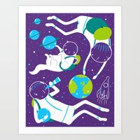 A Day Out In Space - Pur… Art Print