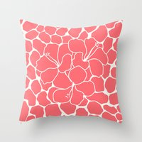 Hibiscus Flowers Animal Print Coral Ivory Throw Pillow
