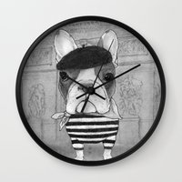 French Bulldog. (black A… Wall Clock