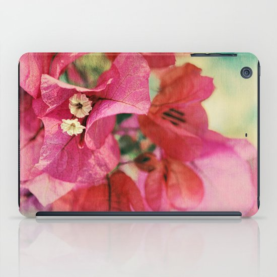 Vintage Bougainvillea Flowers in pink & green with textures iPad Case