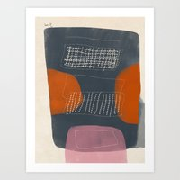 Gray Mono Form with Orange Scoops and Netting Art Print