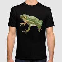 Geometric Frog Mens Fitted Tee Black SMALL
