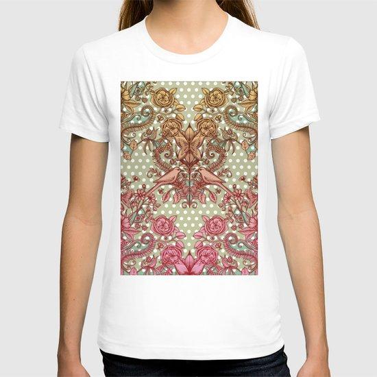 Birds & Butterflies, Polka Dots & Pencil Drawing T-shirt