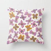 Pink + Mustard Butterflies Throw Pillow