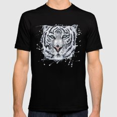 White Tiger SMALL Black Mens Fitted Tee