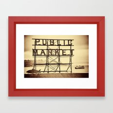 Ferry and Sign for Pike Place Market, Seattle Framed Art Print