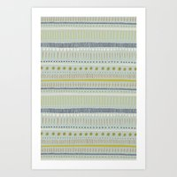 Teal & Green Pattern Art Print