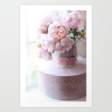 Shabby Chic Cottage Pink Impressionistic Peonies in Vintage Sugar Bucket Art Print