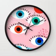 Noob - Eyes Memphis Retr… Wall Clock