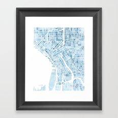Map Seattle Washington Blueprint watercolor map Framed Art Print