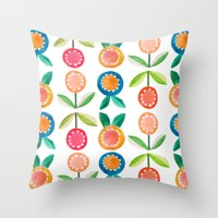 Water Colour Flowers Throw Pillow