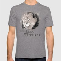 Lion (BornInNature) Mens Fitted Tee Tri-Grey SMALL
